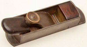 "Here is a specific example of Brandt's and Thorested's influence on N. Erlandsen. This small 7 1/4"" N. Erlandsen mitre plane has a brass plate at the back of the front infill, instead of the typical convex rosewood moulding. The brass plate was introduced by Brandt, and used by Thorested as well. It made making the infill easier and faster, and in the case of Erlandsen mitres, gave more space to Erlandsen's escapement, which has less room than other mitres because of the convex moulding. This is especially true with the smaller Erlandsen mitres such as H.S. no. 13b shown earlier on this page."