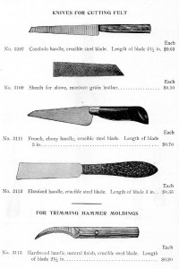 Felt knives from American Felt Co.'s 1911 catalogue