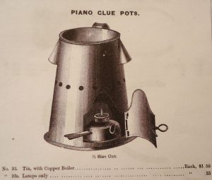 Large glue pot. H.S. & Co., N.Y. pianomaker's catalogue, 1885.