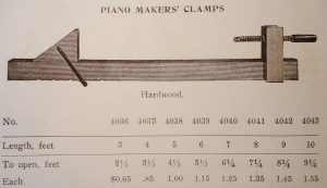 American Felt Co. catalogue, 1914. These clamps have been specifically identified as piano clamps in numerous period publications, including general woodworking publications.