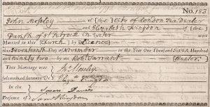 John Moseley married Elizabeth Kingdon, at Saint Petrock, Devon, England, 17 November, 1792.