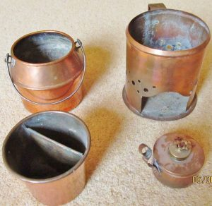 All copper hide glue setup, including alcohol burner, heating shroud, outer pot for water, and inner pot for glue.