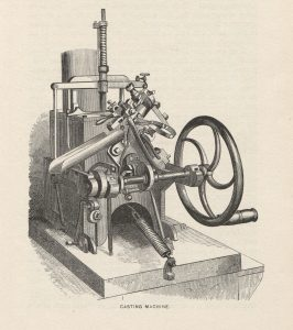 The No. 2 Patent Bruce Typecasting machine patented by David Bruce Jr., in 1843.
